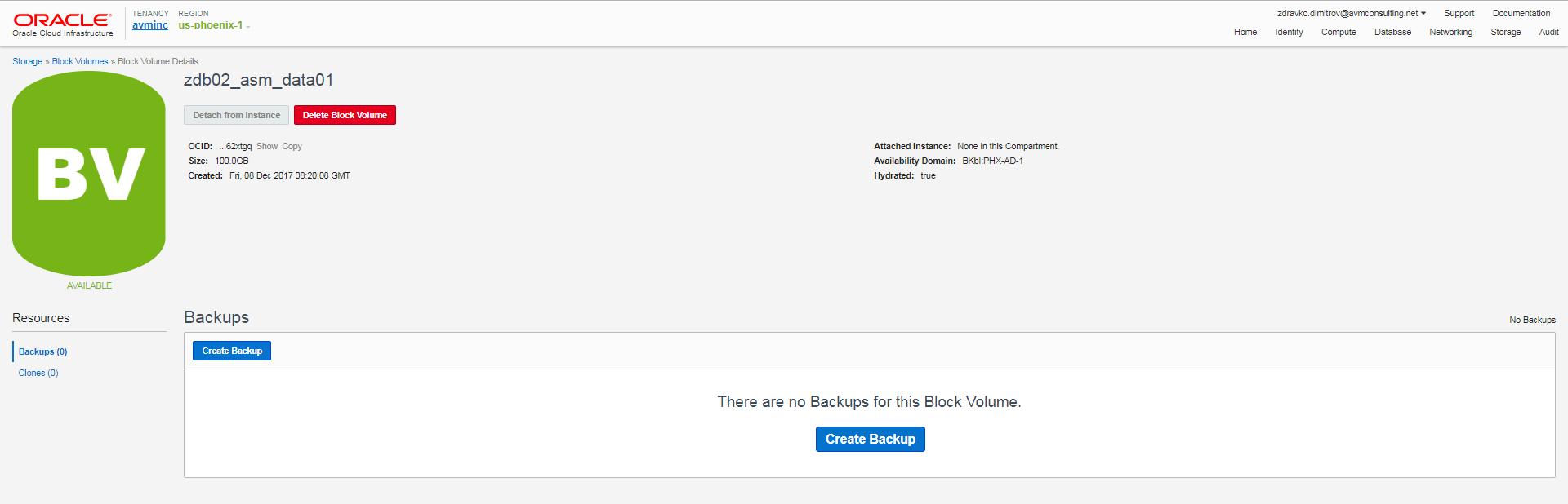 Block Volume Details Available