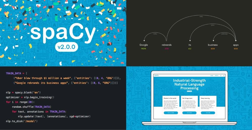 Screenshots of spaCy v2.0
