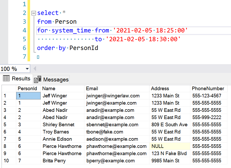 """Screenshot showing the """"from"""" query and results"""