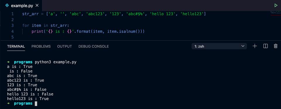 python string alphanumeric check example