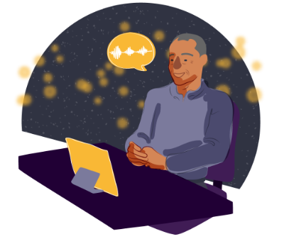 Illustration of man speaking to the winterlight iPad app