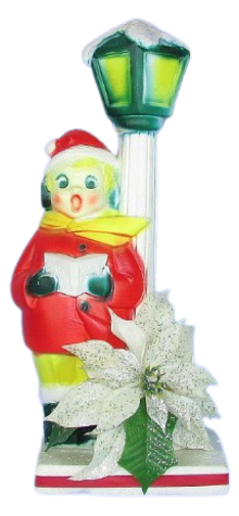 Boy Caroler With Lamp Post and White Poinsettia photo