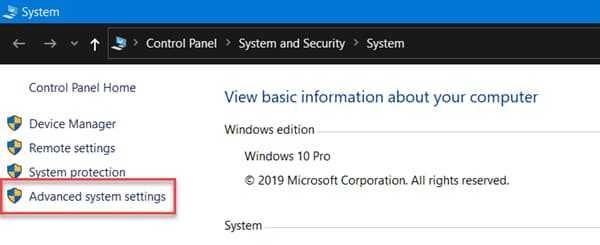 Open Windows 10 Advanced System Settings