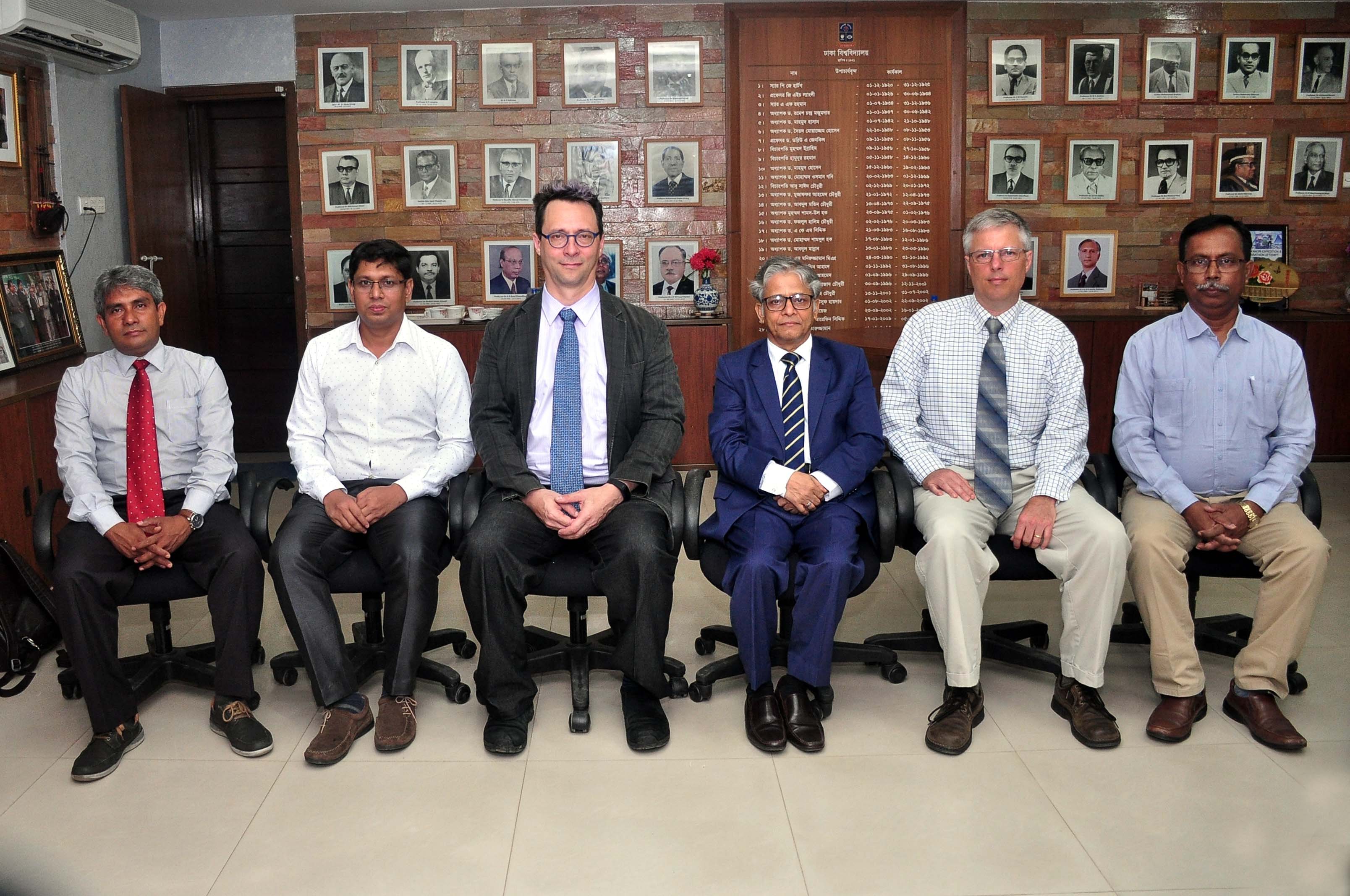 Left to right: Dr. Bishawjit Mallick (TU Dresden); Prof. Monirul Islam, Department of Fisheries, Dhaka University; Prof. Jonathan Gilligan, Department of Earth & Envirionmental Sciences, Vanderbilt University; Prof. Dr. Md. Akhtaruzzaman, Vice Chancellor of Dhaka University; Prof. Steve Goodbred, Chair of Earth & Environmental Sciences, Vanderbilt University; and Prof. Kazi Matin Ahmed, Chair of the Department of Geology, Dhaka University
