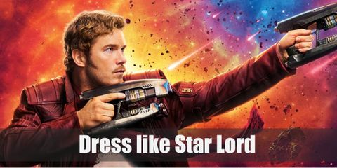 Star Lord wears a light blue T-shirt, a red leather jacket, reddish brown pants with a tactical belt, and black boots.