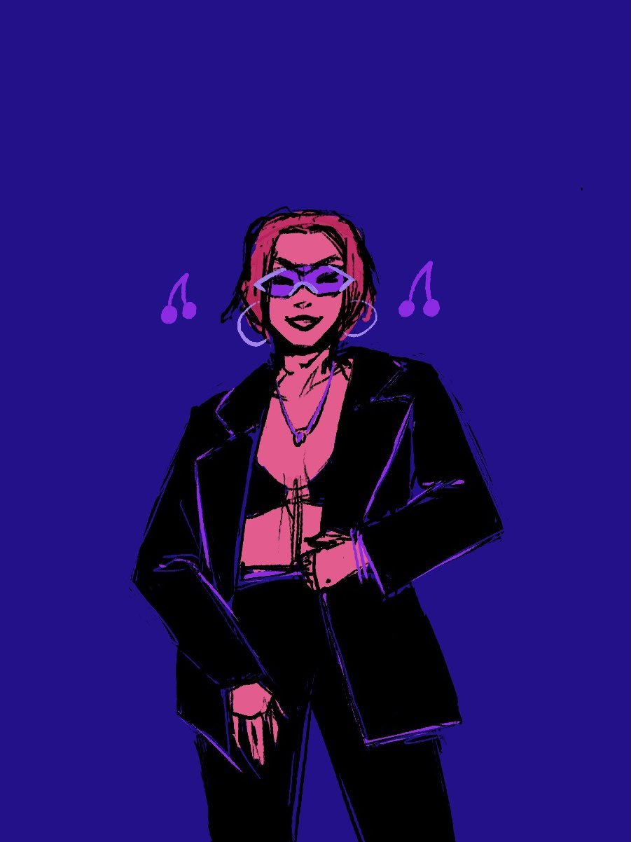 Rina smiling with a bisexual lighting colour palette.