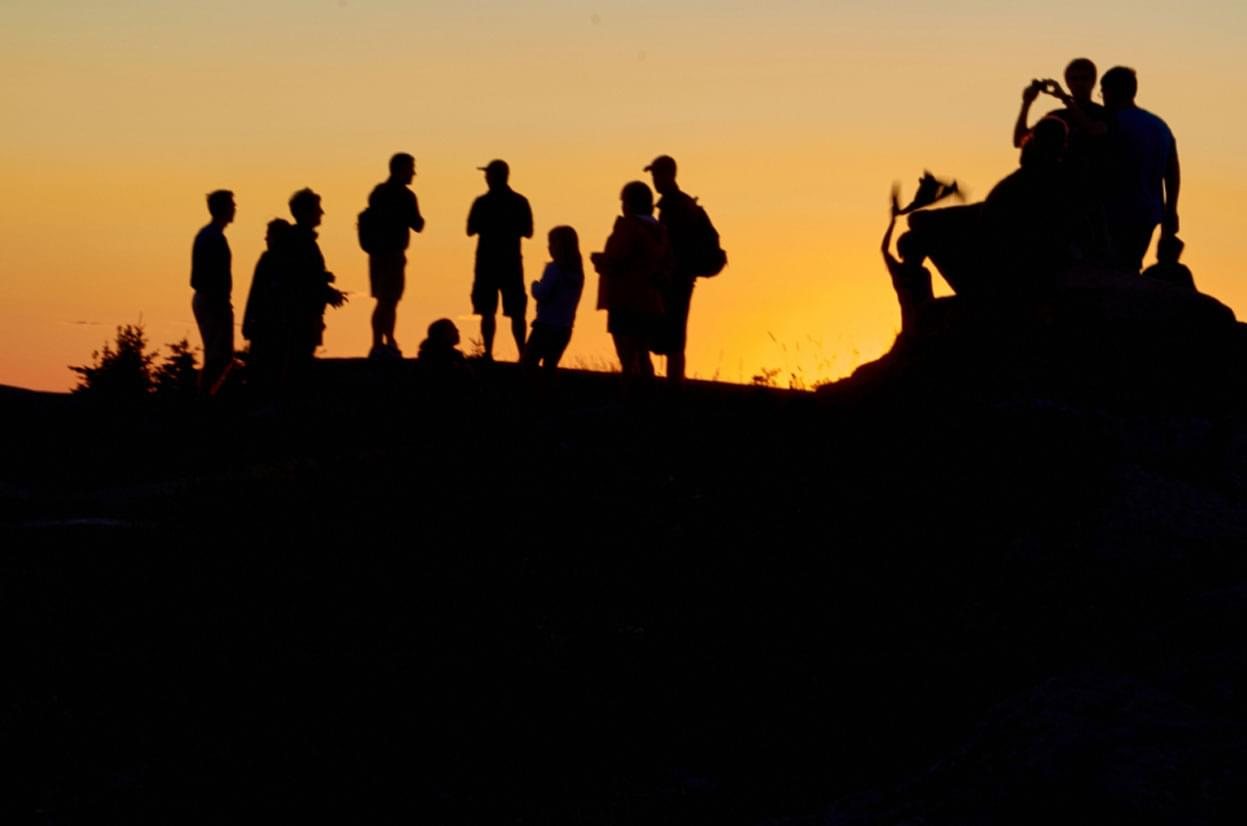 silhouette of people looking at sunset
