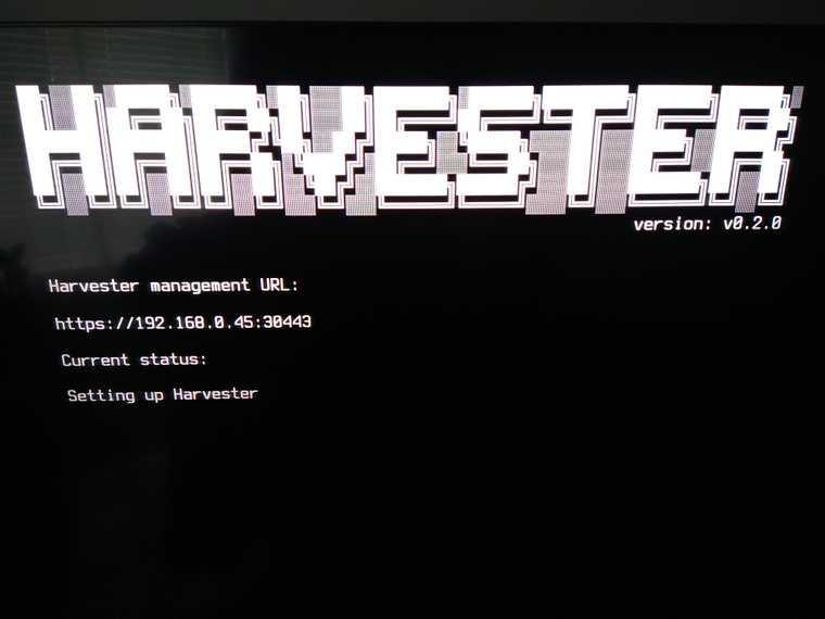 Harvester being setup