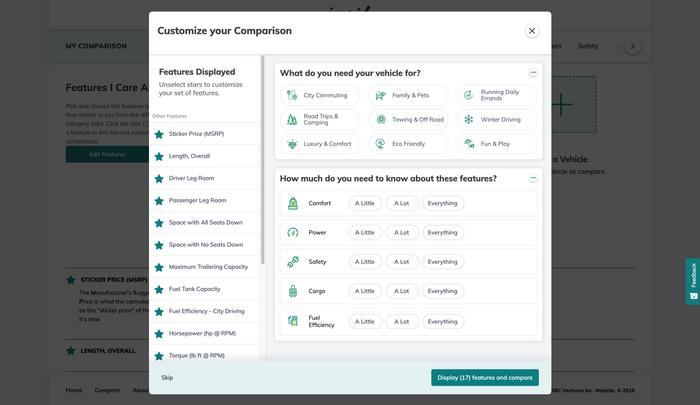 Customize Comparison Features