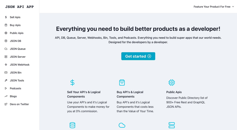 Screenshot of JSON API APP