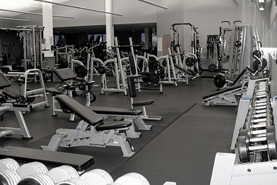 Lots of fitness and weight equipment out on the gym floor