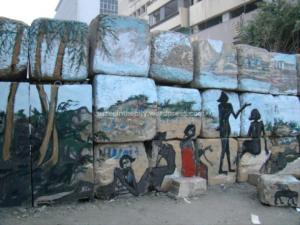 Figure 7: Mural of Luxor landscape, by Alaa Awad, Kasr El Eini Street, Cairo. Photograph by Soraya Morayef (March 2012)