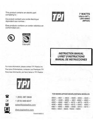 TPI Plastics 7 Watts Instruction Manual preview