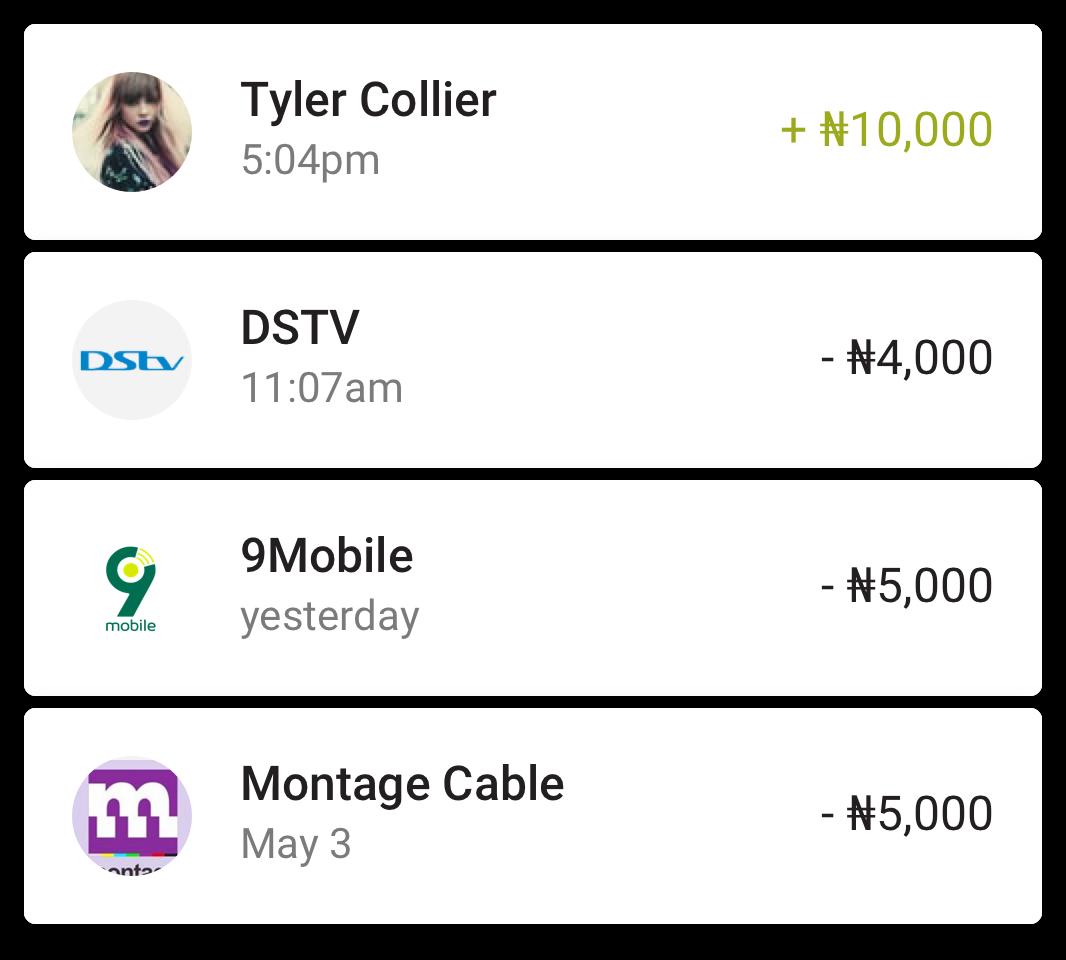 Screenshot of Paga mobile app transaction and spending metrics