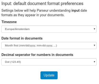 The input format preference form
