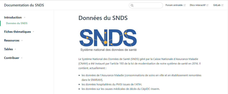 Documentation collaborative du SNDS