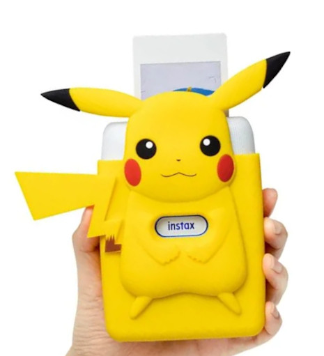 A photo of the official Fujifilm printer case which has a body stylised after the design of Pokémon character Pikachu
