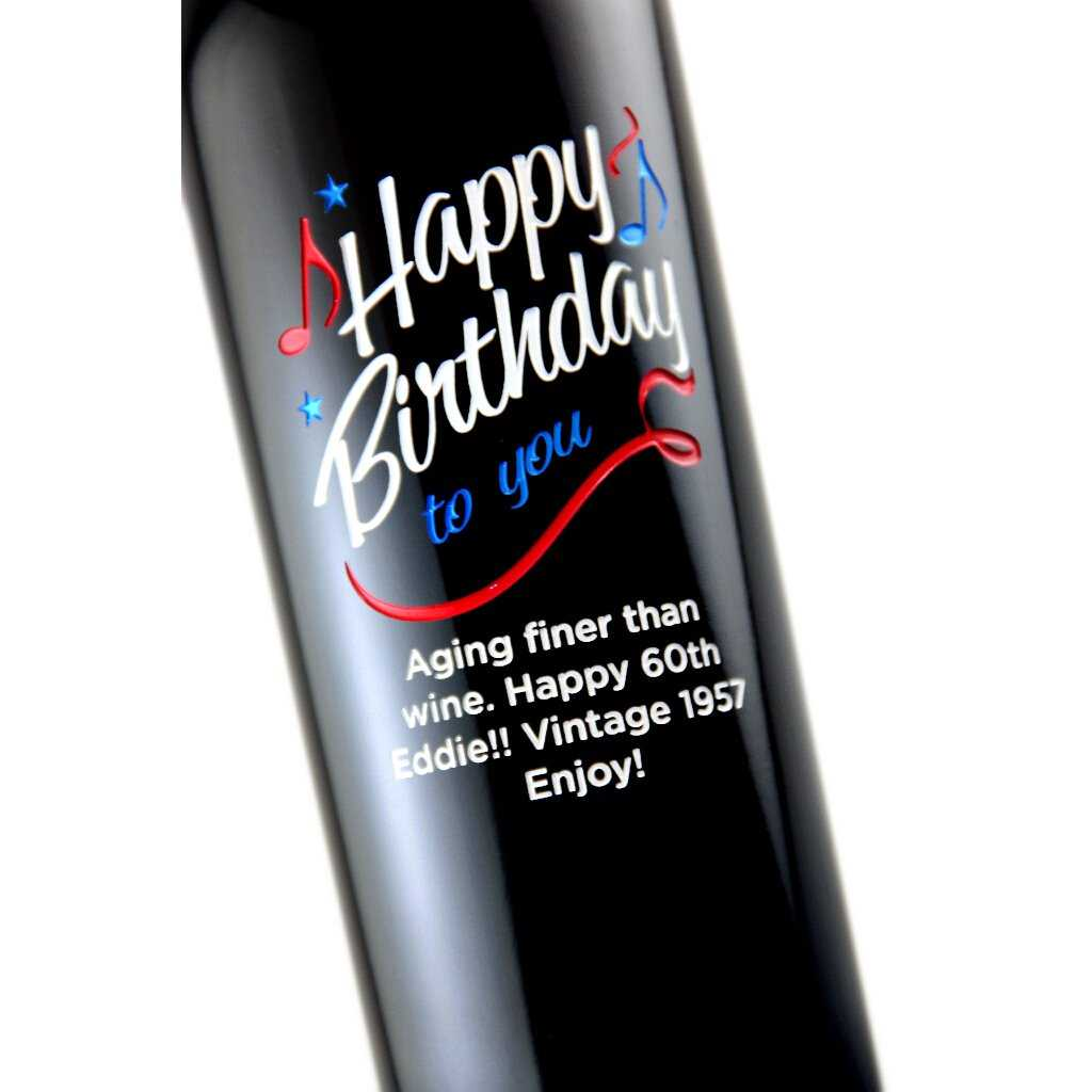 custom birthday wine bottle