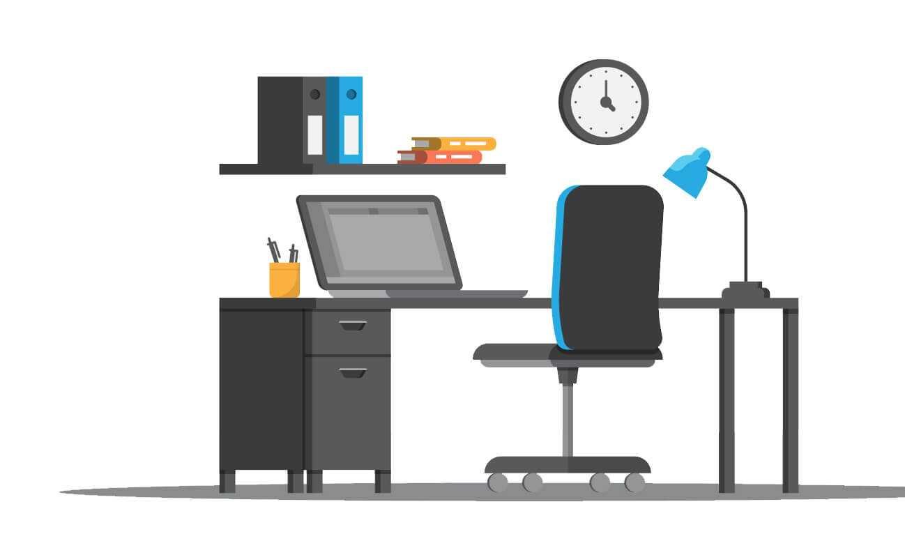 Büroarbeitsplatz mit Laptop, Aktenordnern, Lampe und Schreibmaterial