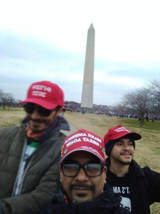 Daniel Rodriguez and Edward Badalian posing in front of the Washington Monument.