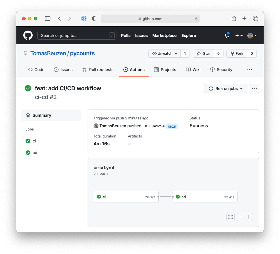 Successfully run continuous deployment workflow on GitHub.