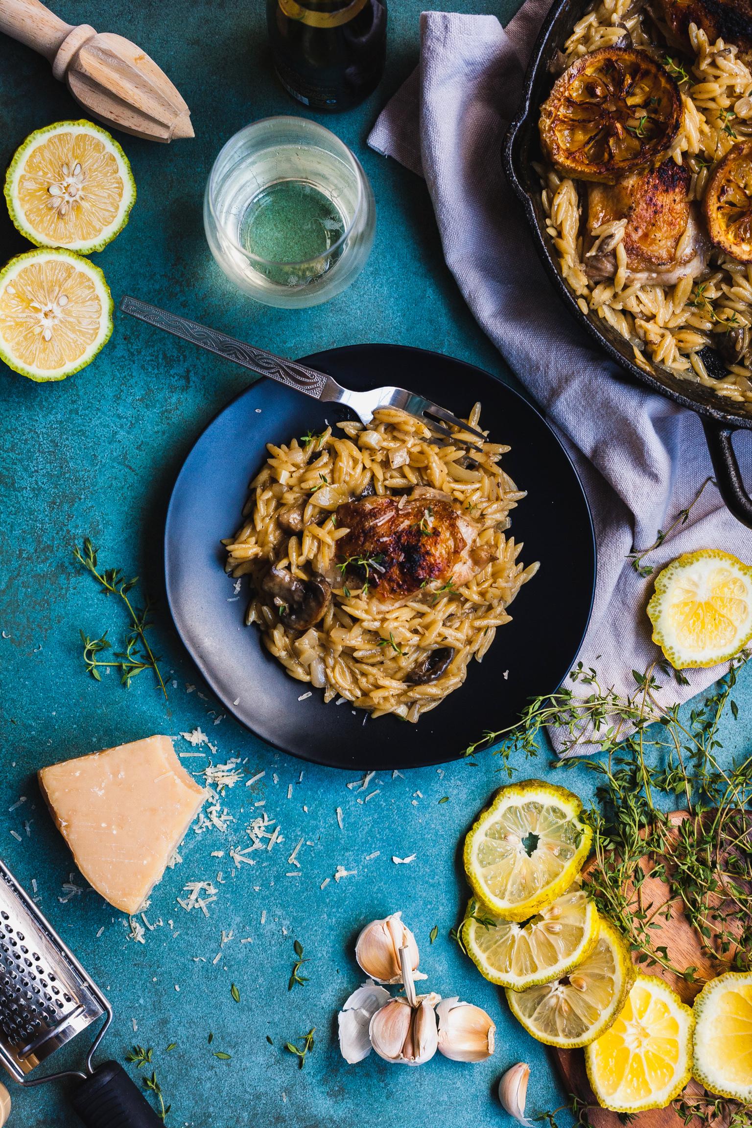 Creamy One Pan Lemon Garlic Chicken And Orzo Risotto