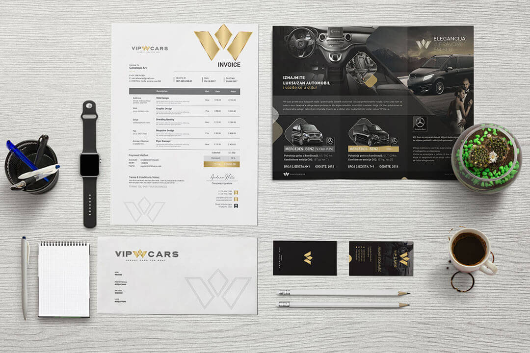 Project Vip Cars Luxury Cars for Rent, Broschure, Graphic Design