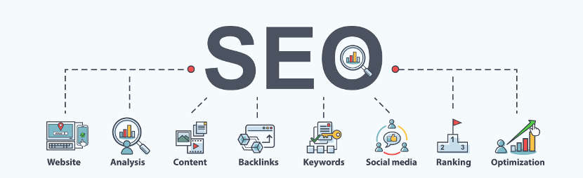 the word SEO with marketing images below relating to content, backlinks, ranking, keywords etc