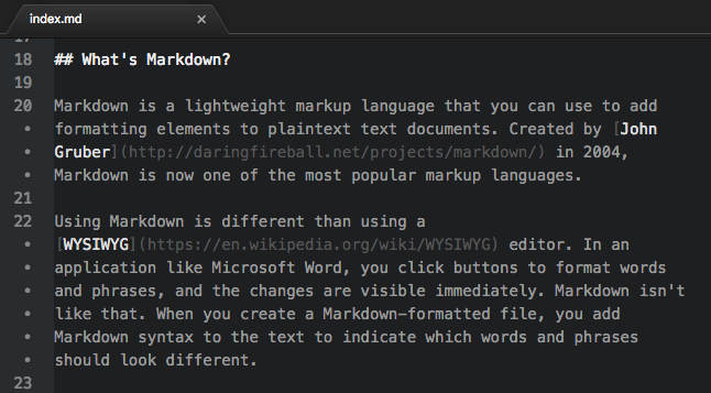 Markdown file in the Atom text editor