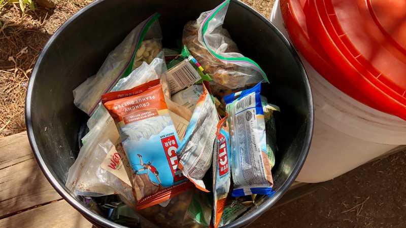Hiker food buckets at Muir Trail Ranch