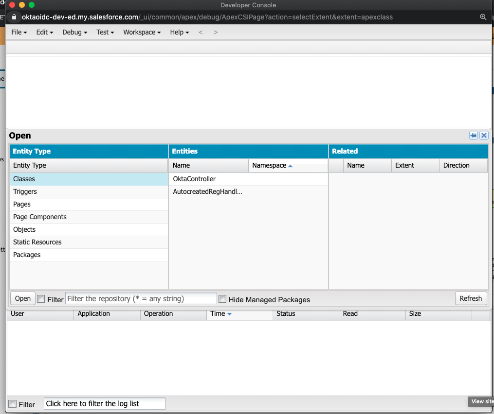 Salesforce dev console