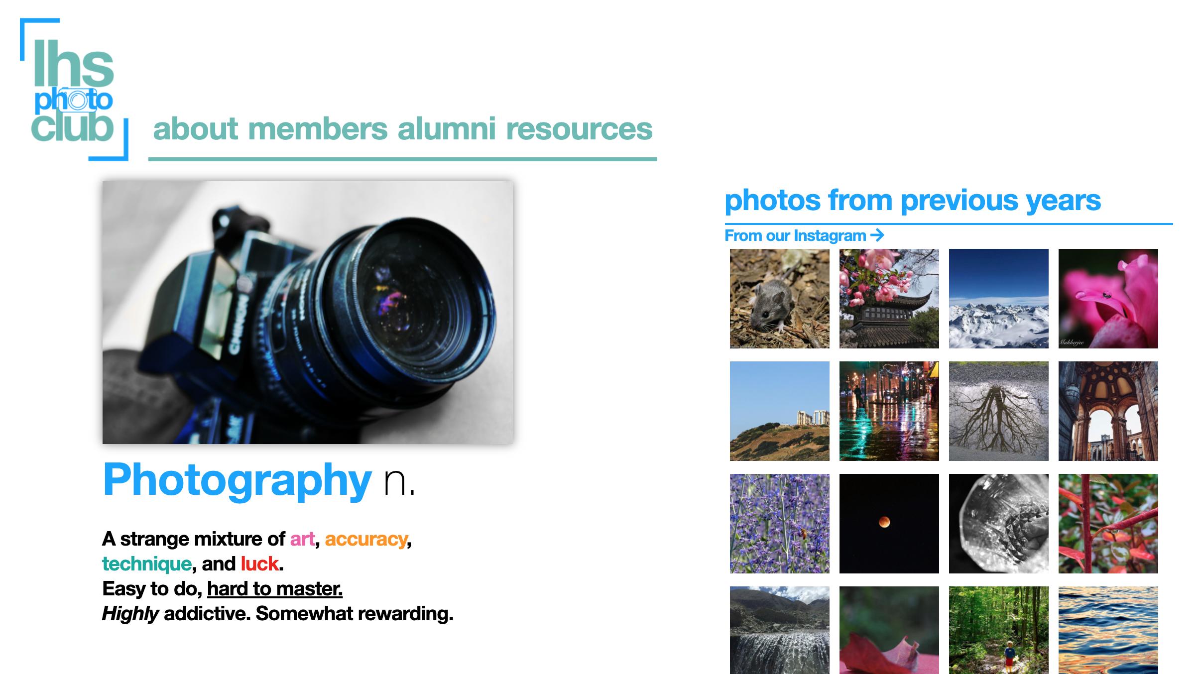Photo Club Website Image