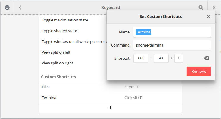 Setting custom keyboard shortcuts in GNOME