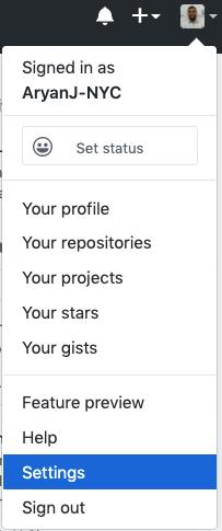 GitHub settings dropdown