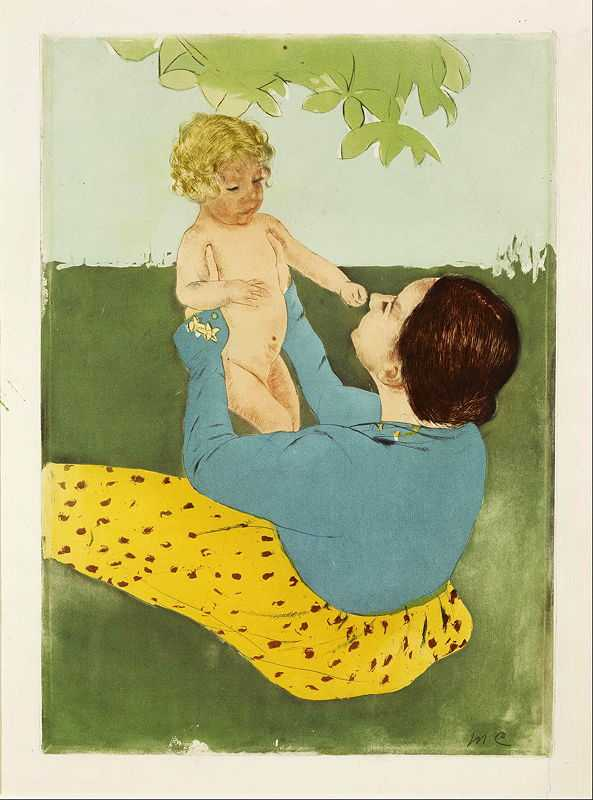 'Under the Horse Chestnut Tree' by Mary Cassatt, 1898, drypoint and aquatint print, 19 x 15 in., Museum of Fine Arts, Houston