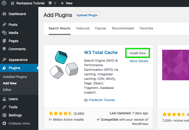 click the install now button in the search results for w3 total cache