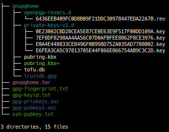 Files generated by gpg-keygen