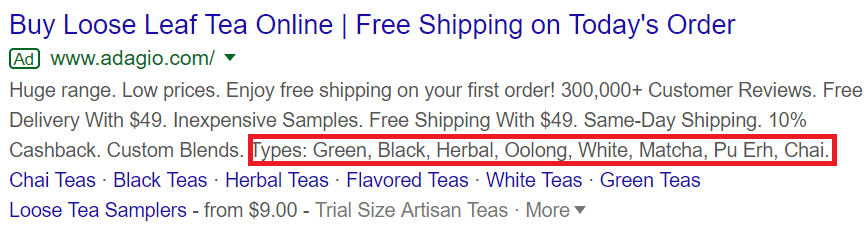 Non-clickable link in a Google Ad campaign with specifications.