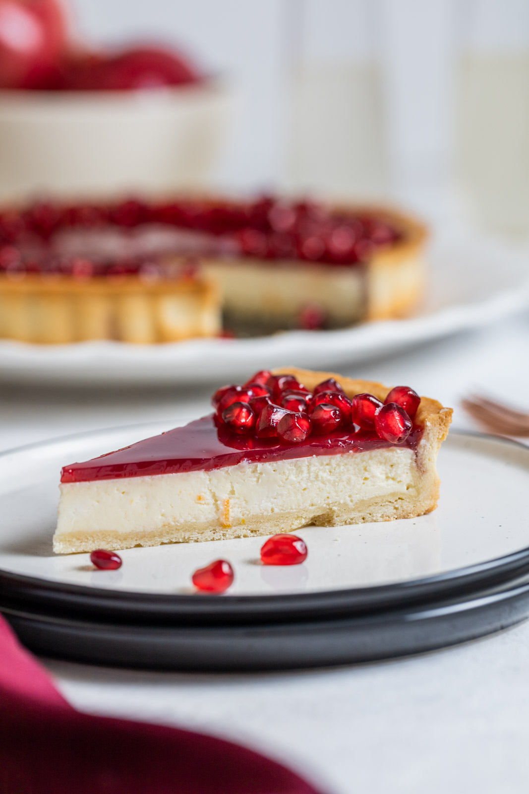 Pomegranate Ricotta Cheesecake Tart