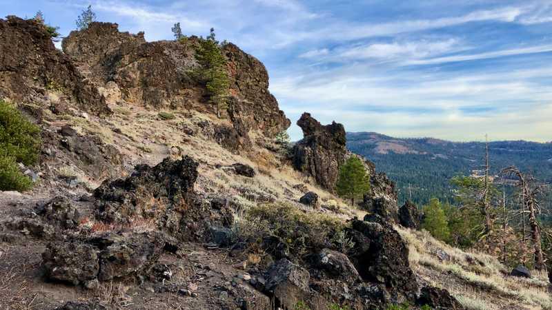 Volcanic rock on a ridge
