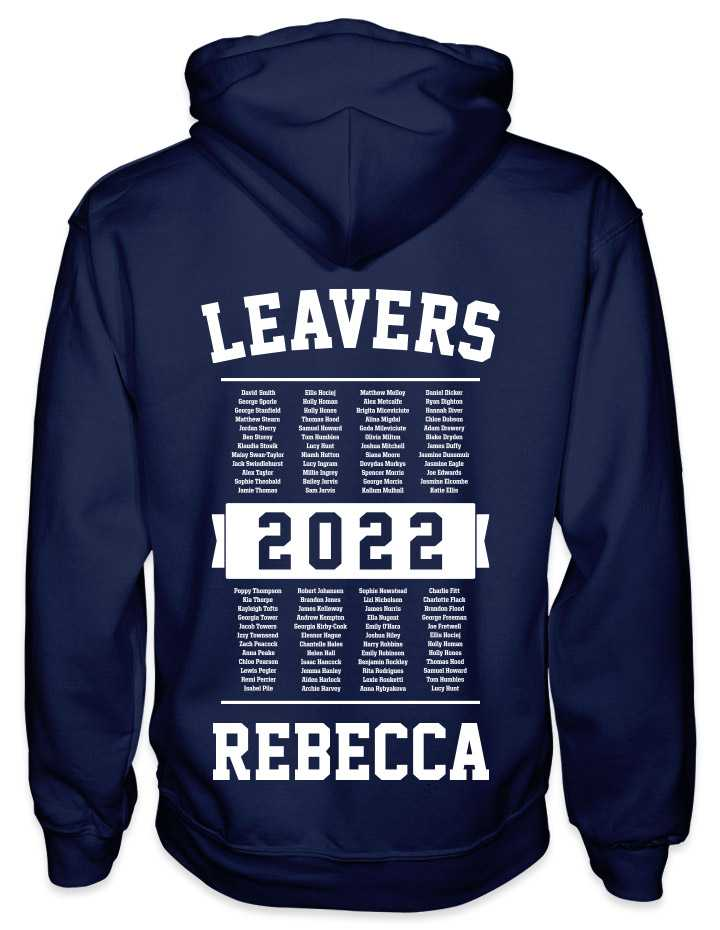 leavers hoodies list of names design with leavers printed across shoulders, names in a list, nickname printed at the bottom