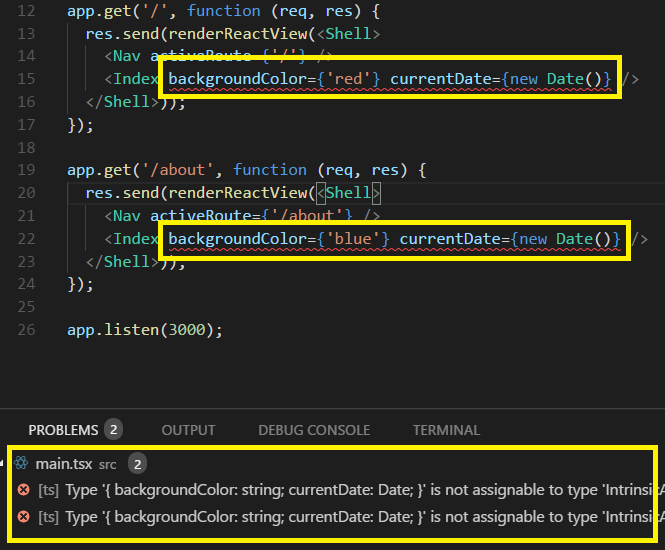 Intellisense warning us about missing props after modifying the DTO class