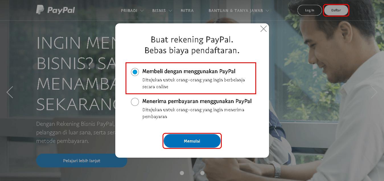 Daftar -> Membeli dengan menggunakan PayPal