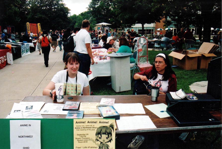 Anime In Northwest Ohio members tabeling at a BGSU Campusfest outside the then new Student Union.