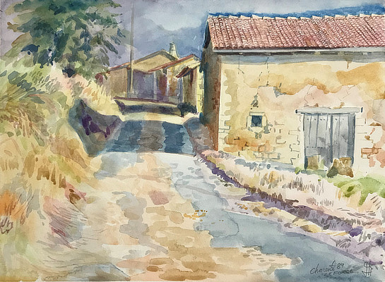 watercolour painting of a country lane and houses