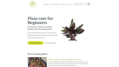 Plant care for beginners homepage