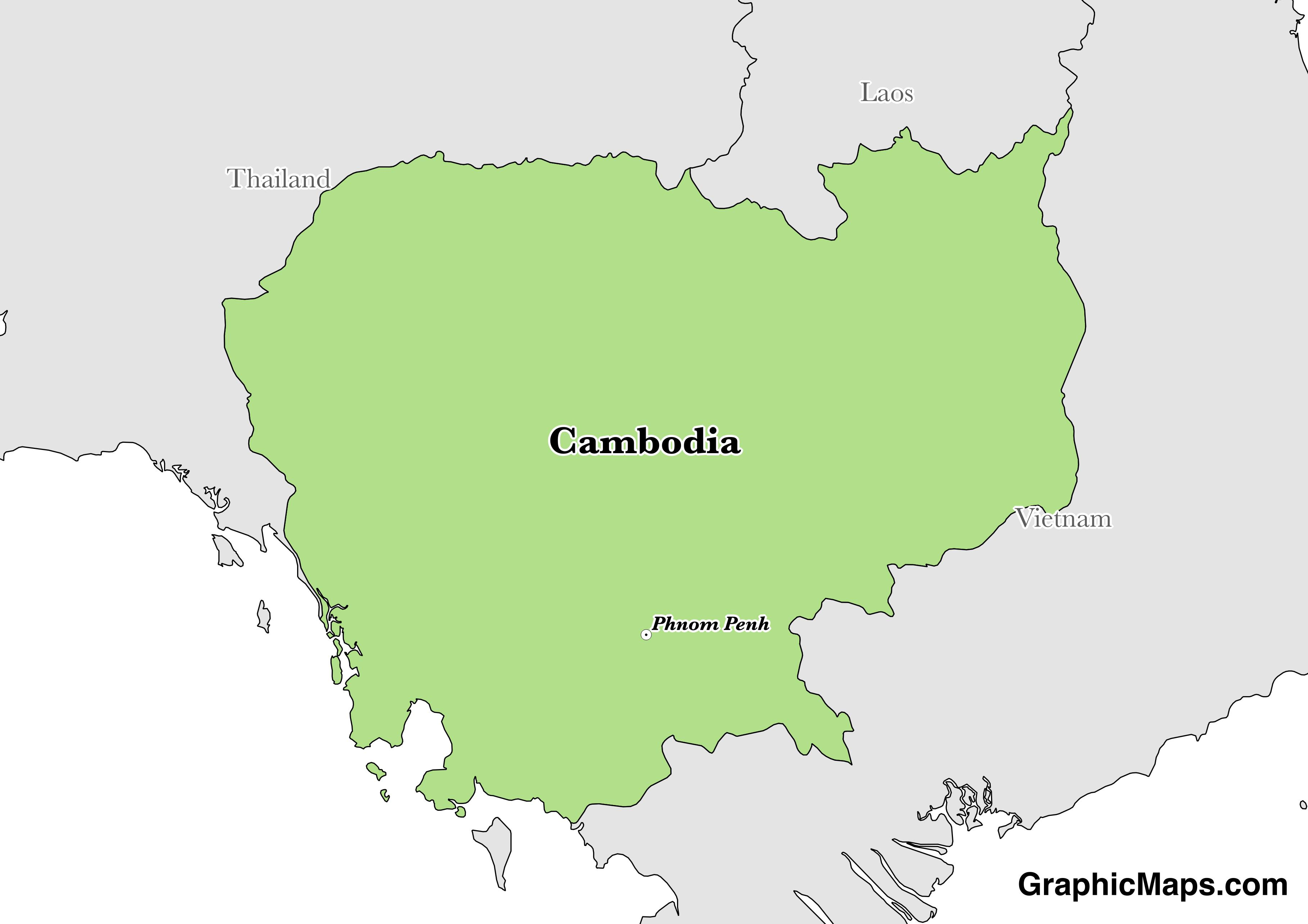 Map showing the location of Cambodia
