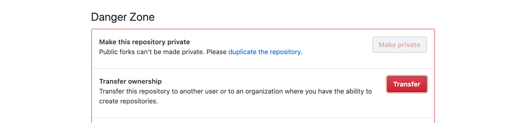 GitHub repository Settings Danger Zone - How to Transfer a repo