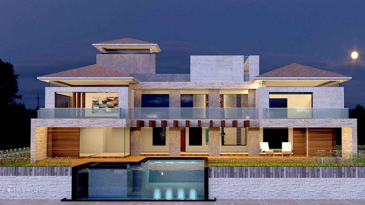 Bungalow Design Lonavla Perspective View Exterior Design