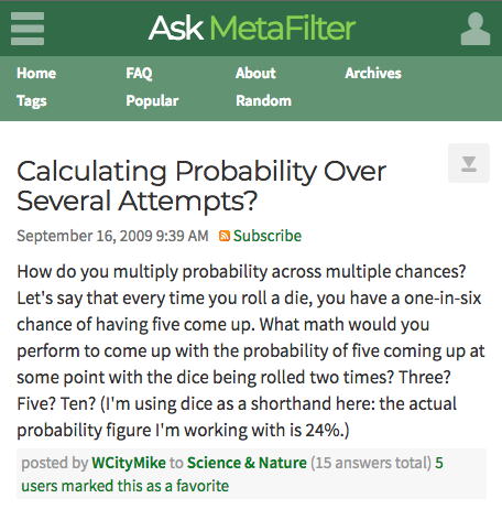 Ask Metafilter Probability Question
